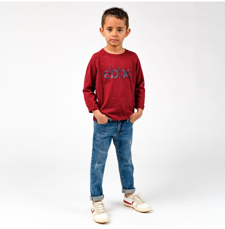 Ivo - Red long sleeved t-shirt with ebbe logo for children