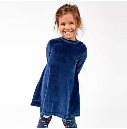 Jaden - Blue velour dress for children